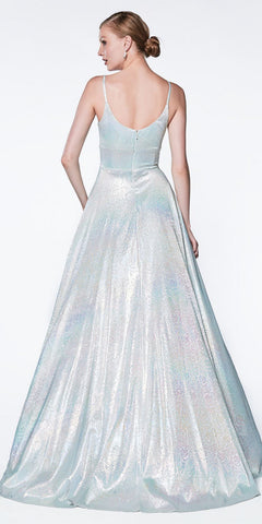 Cinderella Divine Long A-Line Slit Prom Gown Lilac Metallic Hologram Fabric