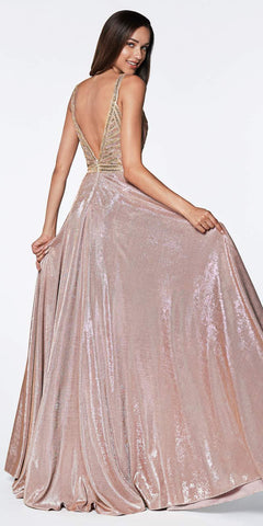 A-Line Glitter Gown Champagne With Beaded Top And Metallic Fabric