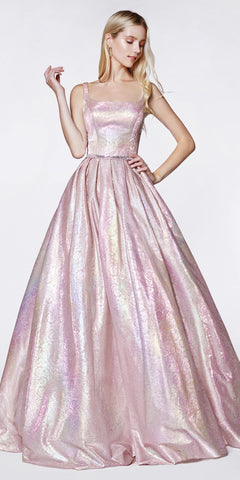 Metallic Blush Holographic Floral Ball Gown Illusion Sides Pockets