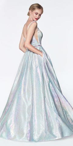Metallic Holographic Floral Ball Gown Rainbow Illusion Sides Pockets