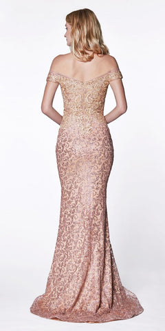 Cinderella Divine KC881 Long Off The Shoulder Fitted Gown Rose Gold Glitter Beaded Lace Details
