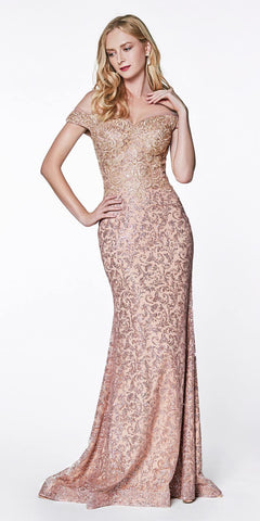 Floor Length A-Line Chiffon Gown Mauve With Lace 3/4 Length Sleeve