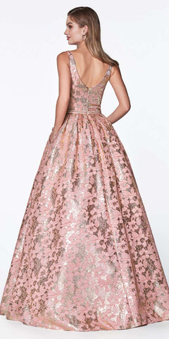 Cinderella Divine KC882 Floral Print Ball Gown Metallic Rose Gold Detail And Deep Plunge Neckline
