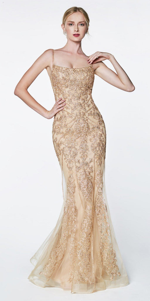 Cinderella Divine KC885 Floor Length Fit And Flare Gown Champagne Beaded Lace Detail