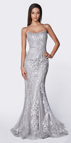 Cinderella Divine KC885 Floor Length Fit And Flare Gown Gray Beaded Lace Detail