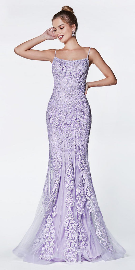 Cinderella Divine KC885 Floor Length Fit And Flare Gown Lilac Beaded Lace Detail