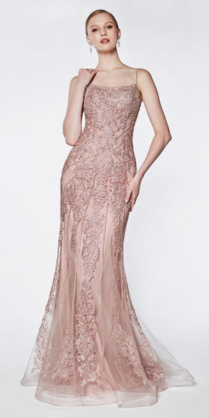 Cinderella Divine KC885 Floor Length Fit And Flare Gown Rose Beaded Lace Detail
