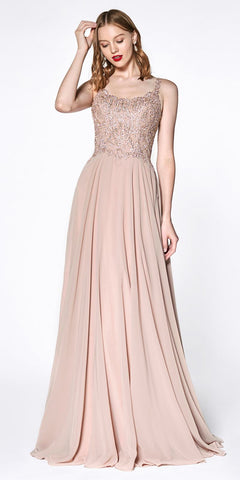 Cinderella Divine KC886 A-Line Chiffon Gown Rose Gold Floor Length Lace Bodice Scoop Back