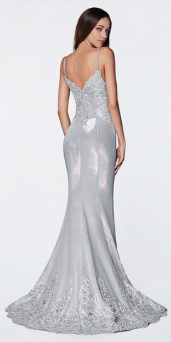 Cinderella Divine KC889 Long Fitted Metallic Gown Silver Lace Appliqued Bodice Scallop Lace Hem