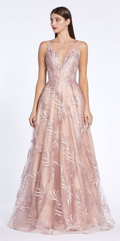 Mauve Appliqued and Beaded Long Prom Dress