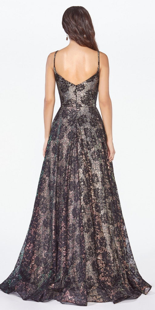 Black Lace A-Line Long Prom Dress Plunging V-Neck