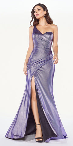 CLEARANCE - Metallic Pleated Long Prom Dress with Slit Burgundy (Size 18)