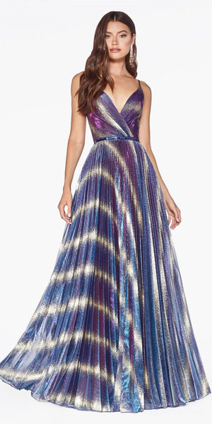 Metallic Pleated Long Prom Dress Cobalt Gold V-Neck