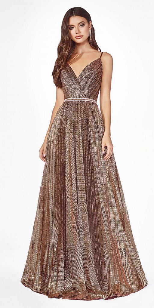 Pleated V-Neck and Back Long Prom Dress Copper