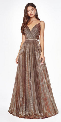 Glitter V-Neck and Back Rose Gold Long Prom Dress