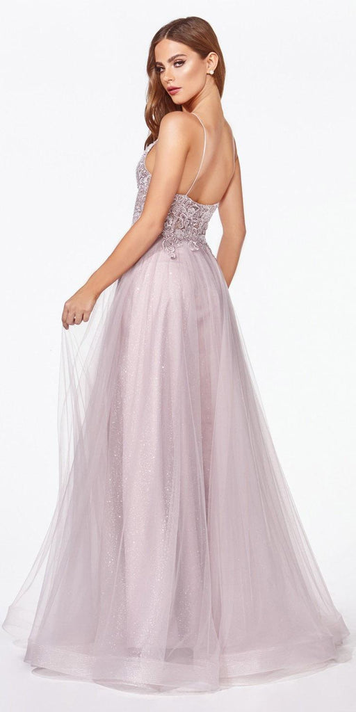 Mauve Long Prom Dress Appliqued Bodice V-Neck
