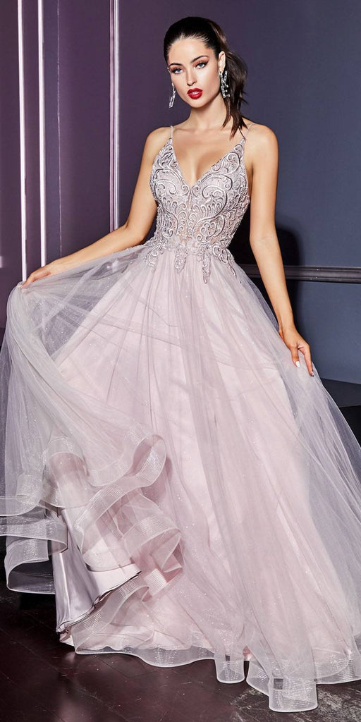 Cinderella Divine KC897 Mauve Long Prom Dress Appliqued Bodice V-Neck