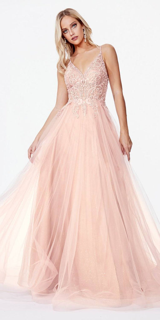 Cinderella Divine KC897 Rose Long Prom Dress Appliqued Bodice V-Neck