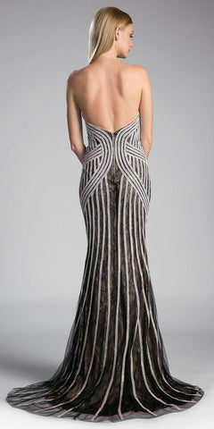 Strapless Embellished Mermaid Long Prom Dress Black/Silver