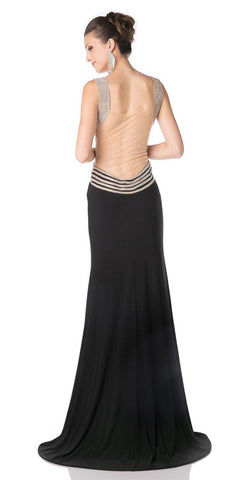Black Long Prom Dress Illusion Back with Slit