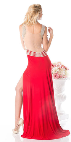 Red Long Prom Dress Illusion Back with Slit