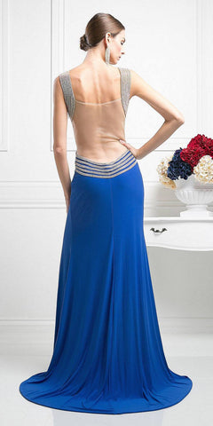 Royal Blue Long Prom Dress Illusion Back with Slit