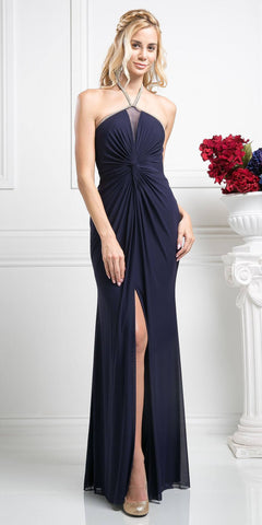 Open-Back Halter Long Prom Dress Navy Blue with Slit