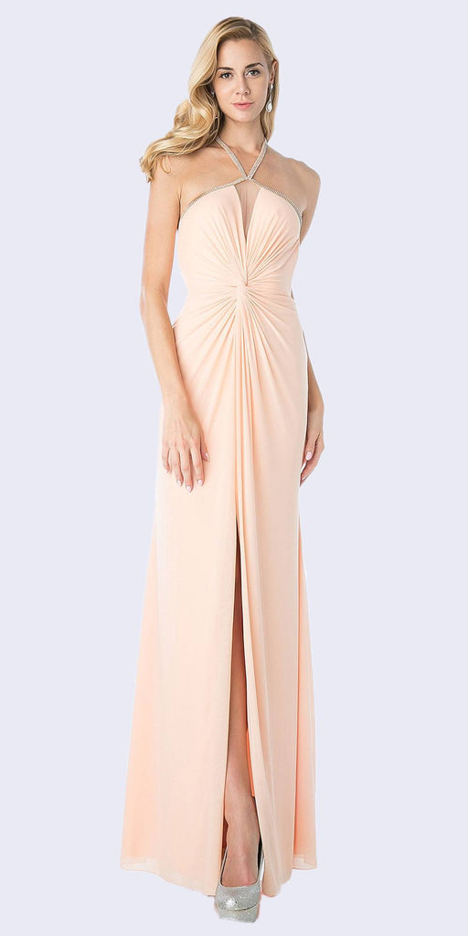 Open-Back Halter Long Prom Dress Peach with Slit