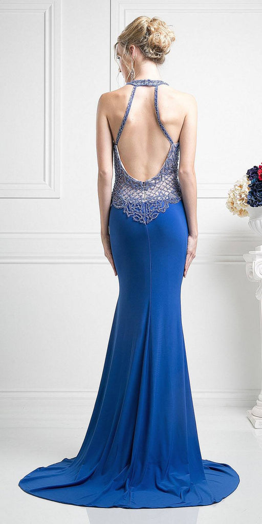 Open Back Halter Beaded Long Prom Dress Royal Blue