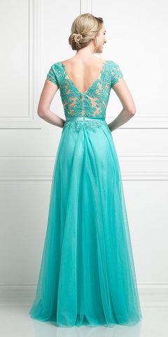 Mint Lace Appliqued Long Formal Dress A-Line