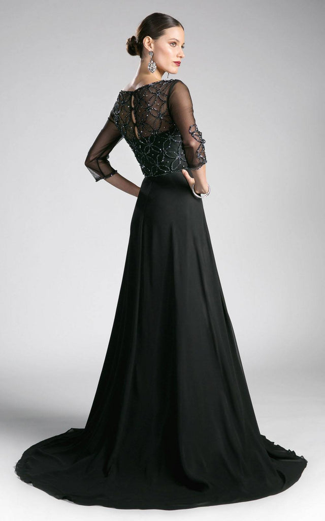 Three-Quarter Sleeves A-line Long Formal Dress Black