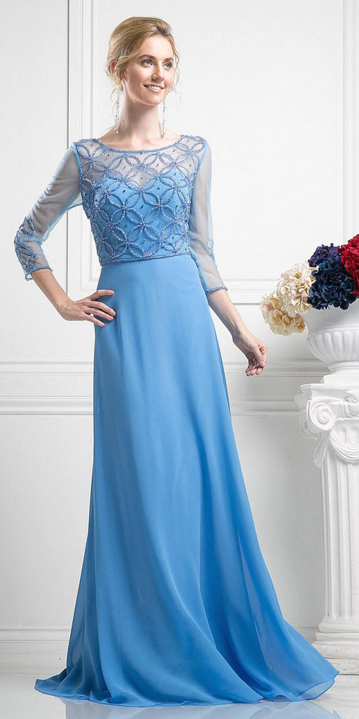 Three-Quarter Sleeves A-line Long Formal Dress Perry Blue