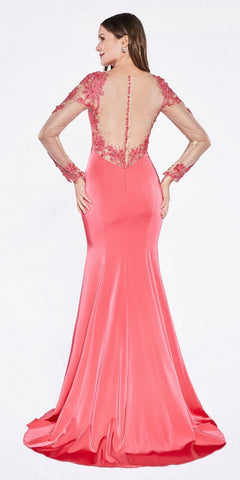 Cinderella Divine KD038 Floor Length Formal Gown Hot Pink With Nude Long Sleeves