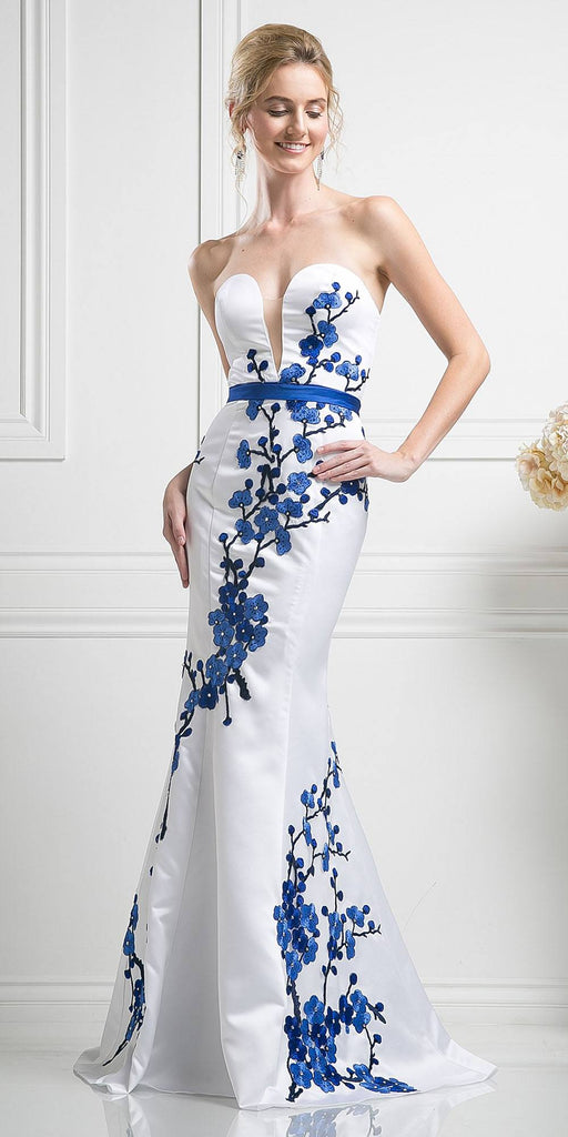White/Royal Blue Strapless Mermaid Style Prom Gown