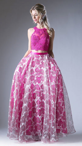 Fuchsia Appliqued Two-Piece Prom Gown with Pockets