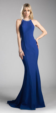Embellished Back Mermaid Long Prom Dress Cobalt