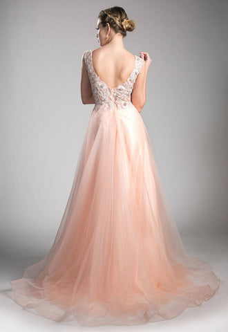 Peach Scoop Neck Long Prom Dress with Appliques