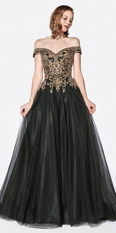 Cinderella Divine KV1032 A-Line Tulle Gown Long Black Off The Shoulder Beaded Bodice