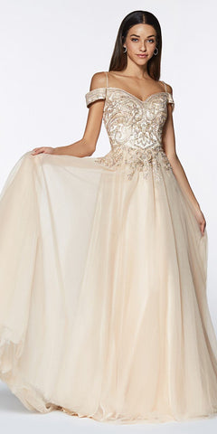 Cinderella Divine KV1032 A-Line Tulle Gown Long Champagne Off The Shoulder Beaded Bodice