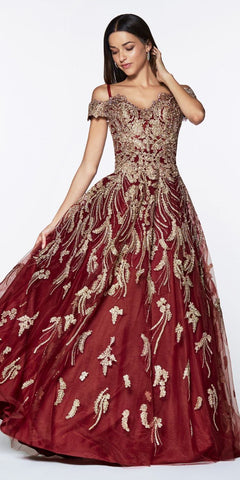 Cinderella Divine KV1034 Floor Length Off The Shoulder Lace Ball Gown Burgundy/Gold Sweetheart Neckline