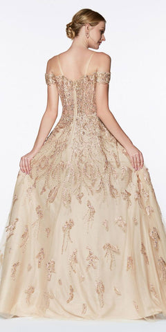 Cinderella Divine KV1034 Floor Length Off The Shoulder Lace Ball Gown Gold Sweetheart Neckline
