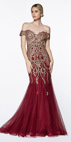 Cinderella Divine KV1035 Off The Shoulder Lace/Tulle Mermaid Gown Burgundy/Gold Beaded Detail