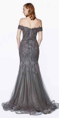 Cinderella Divine KV1035 Off The Shoulder Lace/Tulle Mermaid Gown Charcoal Beaded Detail