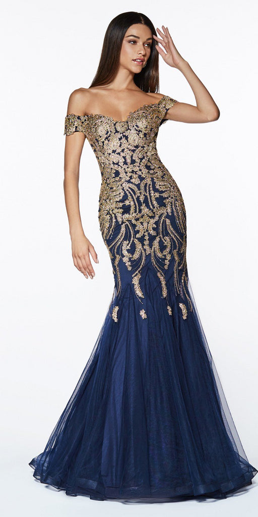 Cinderella Divine KV1035 Off The Shoulder Lace/Tulle Mermaid Gown Navy Blue/Gold Beaded Detail