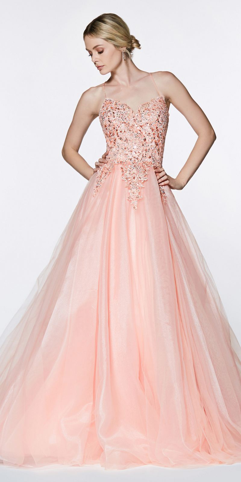 214983d6ee2 Cinderella Divine KV1037 Long A-Line Tulle Prom Gown Blush Lace Beaded  Bodice Criss Cross ...