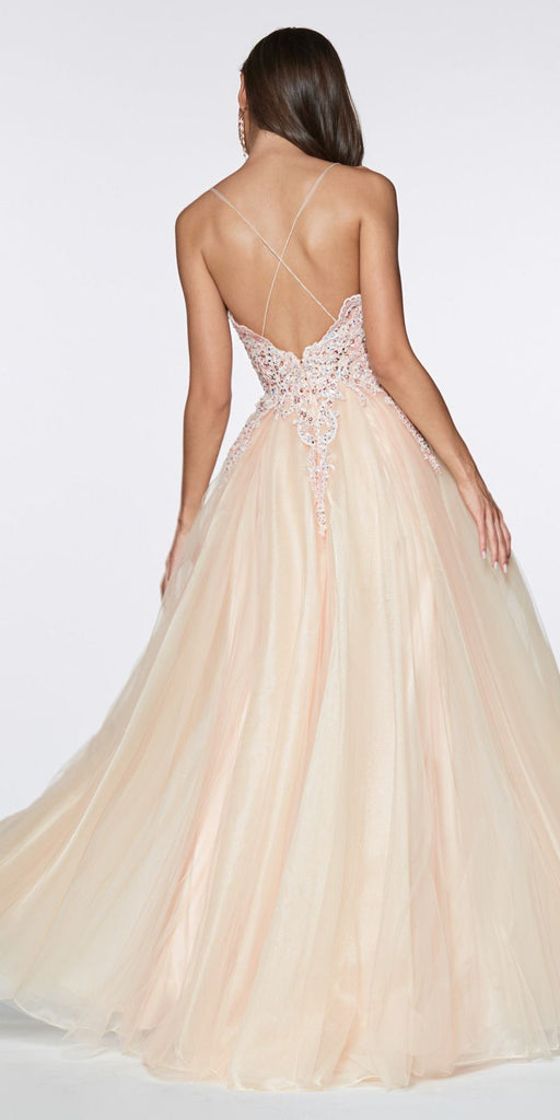 Cinderella Divine KV1037 Long A-Line Tulle Prom Gown Champagne Lace Beaded Bodice Criss Cross Back
