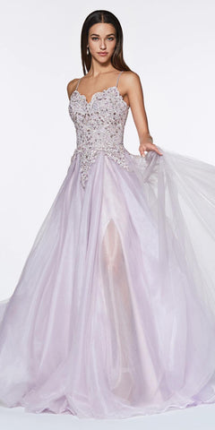 Cinderella Divine KV1037 Long A-Line Tulle Prom Gown Lavender Lace Beaded Bodice Criss Cross Back