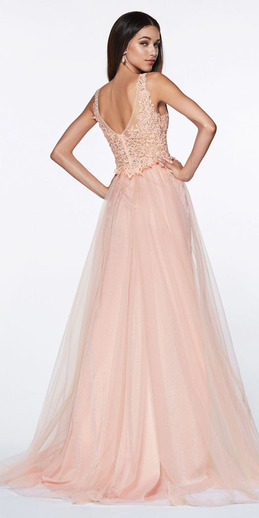 Cinderella Divine KV1040 Floor Length A-Line Tulle Gown Peach Jeweled Lace Bodice Leg Slit
