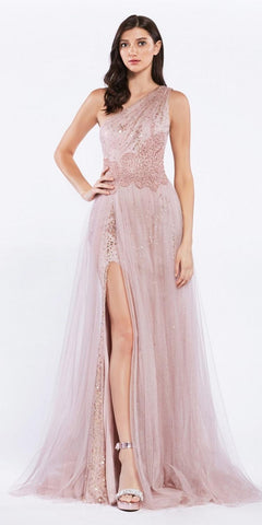 Rose Gold A-Line Long Prom Dress with Tulle Overskirt