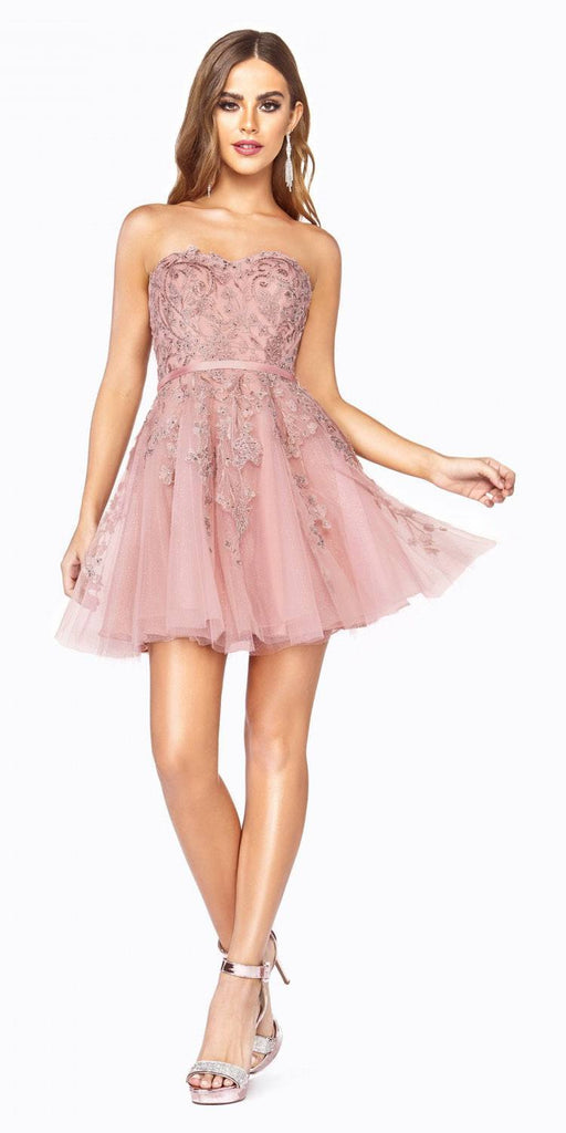 Cinderella Divine KV1048 Appliqued Blush Homecoming Short Dress Strapless